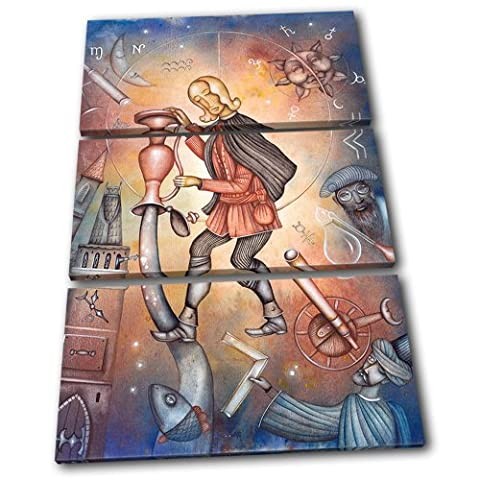 Bold Bloc Design - Zodiac Aquarius Starsign - 150x100cm Boîte de tirage d'Art toile encadrée photo Wall Hanging - à la main dans le UK - encadré et prêt à accrocher - Canvas Art Print