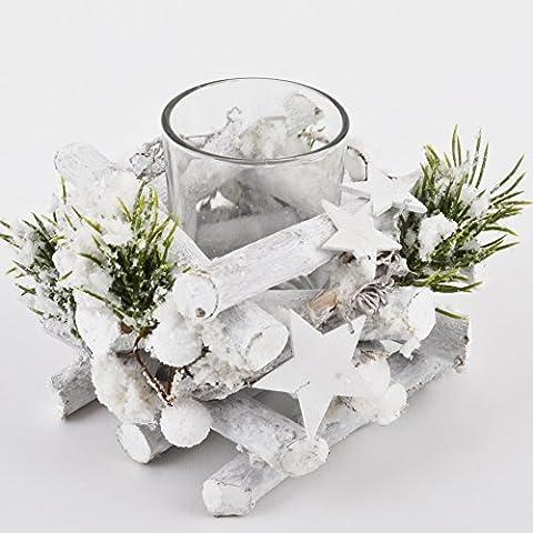 Teelichthalter Xmas Natur Design 8x10x10cm weiss grün Weihnachten