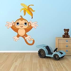 Cartoon Singe Banane Lancer, chambre d'enfant salle de Sticker Mural, Stickers muraux, amovible Art Mural Peel et Stick