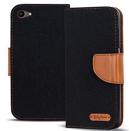 Conie TW43267 Textil Wallet Kompatibel mit Wiko Jerry, Textil Hülle Klapptasche mit Kartenfächer Etui Slim Cover für Jerry Handyhülle Jeans Schwarz