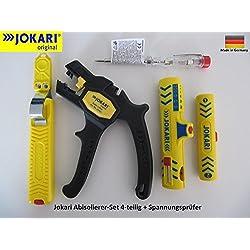 Jokari Kit d'outils de dénudage en 5 en 1 comprenant 1 pince à dénuder «Super 4 Plus», 1 couteau à dégainer avec lame crochet, 1 dénudeur de câbles «Super Secura N°15», 1 pince à dénuder pour câble coaxial «Coaxi N°1» & 1 tournevis testeur de phase