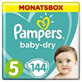 Купить Pampers Baby-Dry Windeln, Gr. 5, 11-16kg, Monatsbox, 1er Pack (1 x 144 Stück)