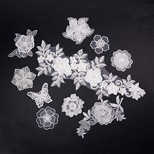 nbeads 10 STÜCKE Weiß Spitze Applique Brautkleid Blume Stoff Spitze Stickerei Nähen auf Flecken - 10 Applique