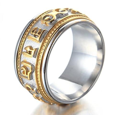 ZQZA Bijoux Bague Homme Acier Inoxydable Dor¨¦e Six Syllabes Mantra Ring pour Bouddhiste Anneaux