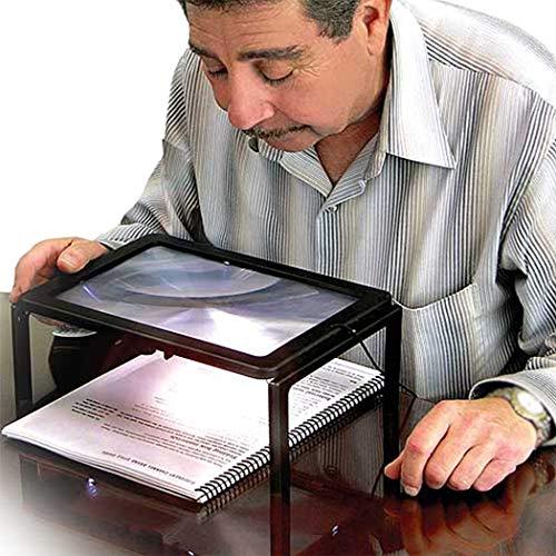 Lupe Desktop Handlupe mit Licht für Senioren Groß Rechteckiges Standlupe mit Klappständer Lesehilfen zum Lesen Büchern Vergrößerungsglas