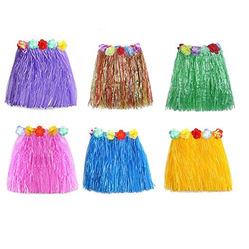 Sotoboo Hawaiian Grass Hula Rock mit Blume Leis Hawaii Party Röcke Kostüm Fancy Dress Girlande für Kinder Mädchen Party Geburtstag Party Favor, zufällige Farbe, 6pcas, Einheitsgröße (Custome Tanz Kostüm)