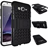 SnS Rugged, Armor, Defender, Hybrid Back Case Cover with Kickstand for Samsung Galaxy J5 2016