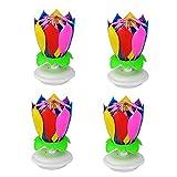 4pcs di alta qualità buon compleanno musica candele fiore romantico regalo di compleanno fiore di loto lume di candela luci decorazioni per feste di compleanno, multicolor