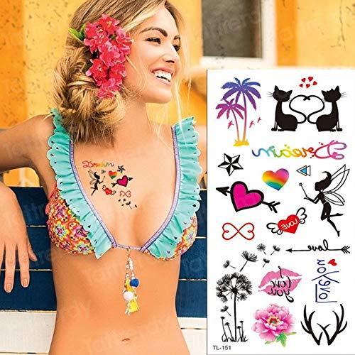 Handaxian 5pcs Tattoo Aufkleber Wort Herzschlag russische Tattoo Mädchen Arm 5pcs-24 (Pro Make-up Belt)