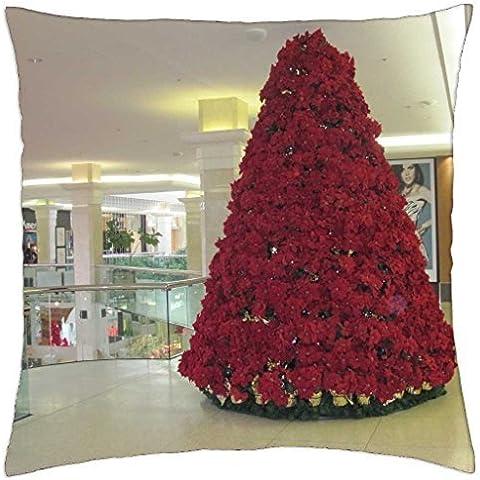 Flores de Pascua rojo árbol de Navidad funda de almohada de en el centro comercial–Manta (18