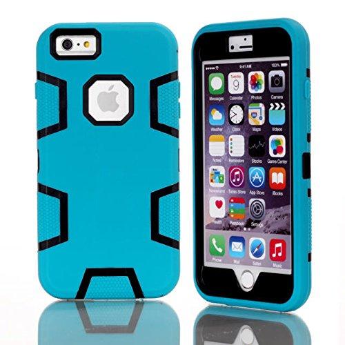 iPhone 6 Plus hülle,6S Plus Argument,Lantier 3 Ebenen [harte PC+Soft TPU Silikon][Stoßdämpfung] square Design Rüstung Schutzhülle für das Apple iPhone 6/6S Plus (5,5 Zoll) Schwarz+Pink Blue+Black
