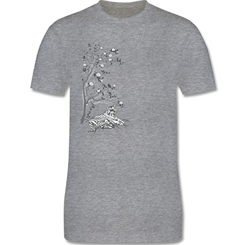 Vintage - Tiger Kirschblüten Baum - Herren Premium T-Shirt Grau Meliert