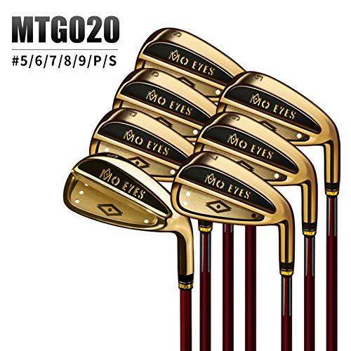 YPSMCYL Golfschläger - 7-teiliger Herren-Golfschläger Eisen-Kupferschläger - Herren-Master-Eisen Schwungbeschleunigtes Patent,Gold-SRCarbonshaft