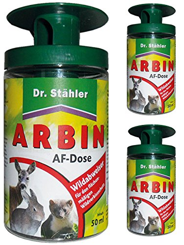 GARDOPIA Sparpaket: 3 x 50 ml Dr. Stähler Arbin AF Dose, Wildtierabwehr Fernhaltemittel + Gardopia Zeckenzange mit Lupe