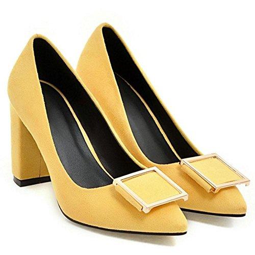 Mode Escarpins 18 Talons Chunky Yellow TAOFFEN Femmes HTqZ5Zf