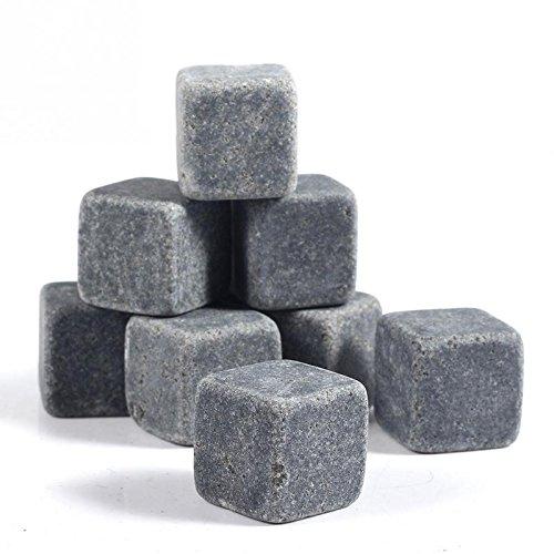 Granito pietre del whisky. Riutilizzabili Ice Cubes agghiacciante. Un insieme di 9 con custodia.