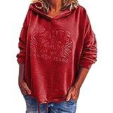 XINAINI Damen Pullover Weihnachten - Oversize Oberteile T-Shirt Sweatjacke Hoodie Kapuzenjacke Langarmshirt - Mode Einfarbig Druck Sweatshirt Kapuzenpullover Sweatshirt Tops(L,rot)