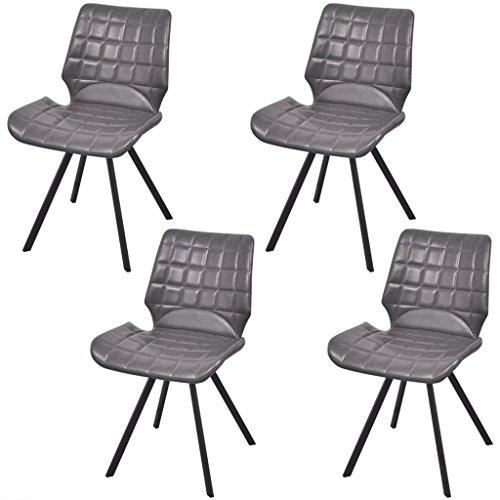 Festnight 4 Stücke Esszimmerstuhl Essstuhl Esszimmer Kunstlederstuhl Küchenstühle Sitzgruppe mit Kunstlederpolsterung 47x58x78,5cm Grau
