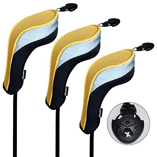 Andux 3pcs couvre de tête du club de golf hybride noir et jaune interchangeables NO. tag MT/hy02