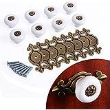 CLE DE TOUS - 8pcs Pomo de Cerámica Bola Blanco con base encaje bronce para Muebles Cajones Armarios Manilla 4mm