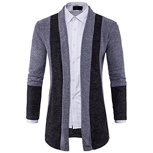 Xmiral Herren Jacke Slim Fit Strickpullover Mode Baumwollmischung Cardigan Langen Trenchcoat (L,Grau)