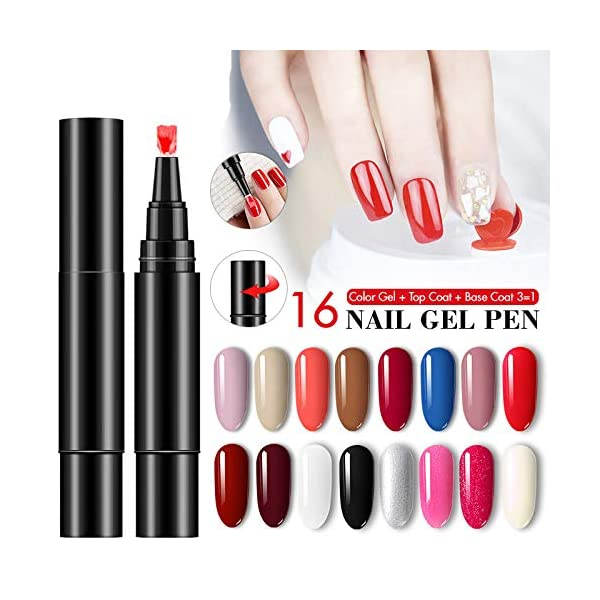 Pluma de esmalte de uñas One Gel, pincel de esmalte de uñas de 16 colores, remojo UV LED Nail Gel Art Kit