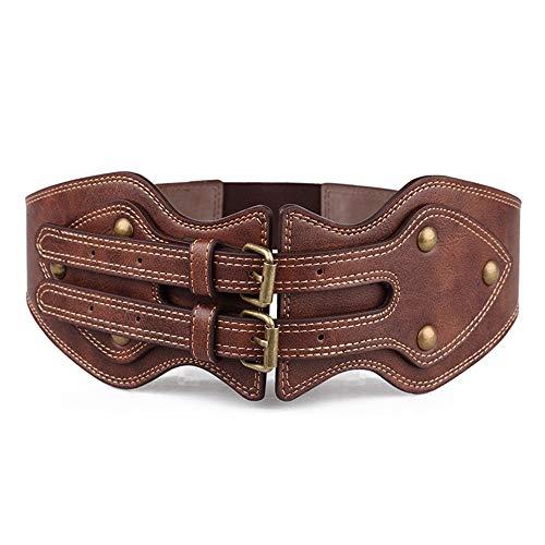 Cintura da donna cintura da donna con doppia fibbia elastica cintura larga cinture gonna decorativa adatta per tutte le stagioni e luoghi cinture per jeans con fibbia in metallo ( size : 94 cm )