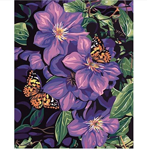 ZGAzhe Flores Hermosas Frameless Cuadro Pintura Por Números Pintura Óleo Digital Sobre Lienzo Decoración para EL Hogar DIY Pintura Flor (Pinturas De Cuadros)