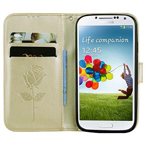 Coque Samsung S4 Anfire Fleur Motif Peint Mode Coque PU Cuir pour Galaxy S4 Etui Case Protection Portefeuille Rabat Étui Coque Housse pour Samsung Galaxy S4 i9500 (5.0 pouces) Luxe Style Livre Pochett Or
