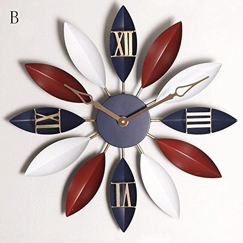 Vinteen Europäischer Stil Uhren und Uhren Uhr Wanduhr Wohnzimmer Persönlichkeit Originalität Modern Einfach Retro Haushalt Schlafzimmer Atmosphäre Birne Zeitnehmer Nr. 5 Batterien (ohne Batterie) ( Größe : B )