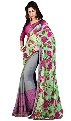 Green Georgette and Jacquard Sarees With Blouse