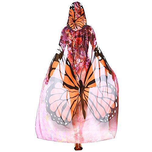 Alni Damen Karneval Kostüm Schmetterlings Druck Kapuzenumhang Cape Schmetterlingsflügel Erwachsene Schal Cape Tuch