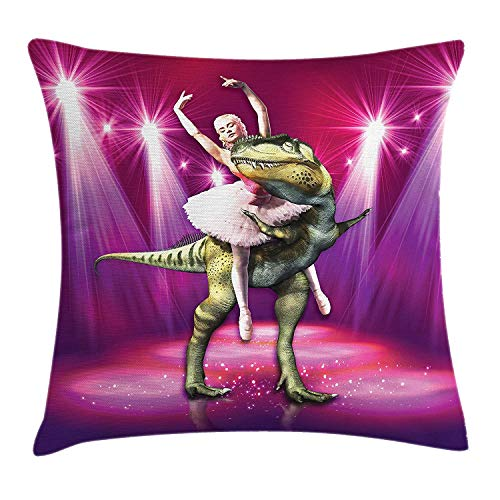 Pillow Cushion Cover, Ballerina Dancing with a Dinosaur Under Neon Stage Unusual Absurd Image Print, Decorative Square Accent Pillow Case, 18 X 18 Inches, Hot Pink Purple ()