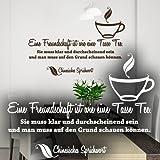 """Wandkings Wandtattoo """"Eine Freundschaft ist wie eine Tasse Tee. Sie muss klar und durchscheinend sein und man muss auf den Grund schauen können."""" 50 x 35 cm gold - erhältlich in 33 Farben"""