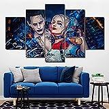 BOYH Drucke auf Leinwand 5 Stücke Suicide Squad Joker mit Harley Quinn Poster Modern Hauptwanddekor Leinwandbild Kunst HD Print