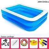 Aufblasbare Pools 2 Ringe Blau Transparent Rechteck Verdicken Haushalt Kinder Planschbecken 200 * 145 * 50 cm