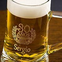 Regalo personalizable para cumpleaños: Jarra de cerveza grabada con el nombre y la edad que tú quieras