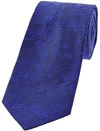 DUCHAMP London Mens 100% Silk Neck Tie Necktie Plain Floral Electric Blue Made In England