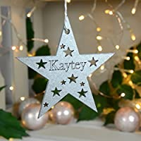 Personalised Star Bauble, Christmas Personalised Bauble, Christmas Star Tree Decoration