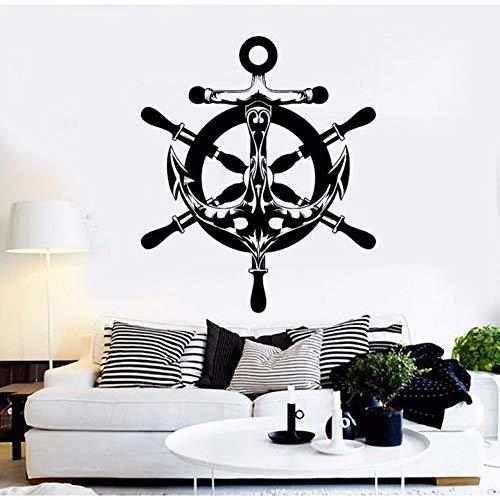 Zxdcd Sea Style Wandaufkleber Vinyl Abstrakt Anker Schiff Rad Wandtattoo Nautische Sea Style Home Dekoration Wand Kunst Dekor 57x67cm