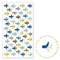 Mind Wave Airplane with pattern gold metallic embellishment stickers