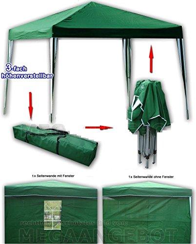 CTZ Carpa Verde 3X 3M Toldo con 2laterales (1con ventana, 1sin ventana),...