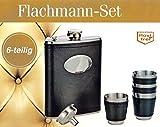 FLACHMANN SET 6-tlg. 210ml aus EDELSTAHL mit 4x Becher Trichter Taschenflasche H
