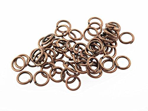 100 Biegeringe in antik Kupfer, 6 mm von Vintageparts, DIY-Schmuck
