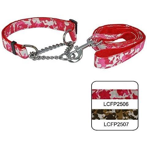 Rifornimenti dell'animale domestico cane corda guinzaglio cane trazione corda 2,5 cm Camouflage controllo catena doppia maniglia pull con archetto da collo , red - Canine Controllo Del Peso