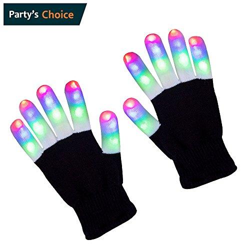 ZPTONE LED Handschuhe Finger Lights 3 Farben 6 Modi Blinkende Rave Handschuhe Halloween Kostüm Party Bevorzugungen Leuchten Toys Neuheit (Kostüme Die Stars Halloween)