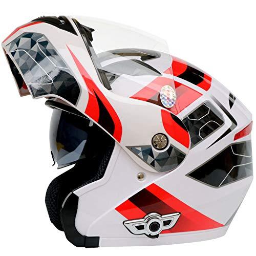 GETNOOG Klapphelme Fur Motorrad Mit Sonnenblende Motorradhelm Mit Sonnenblende Bluetooth Motorradhelm Klapphelm Herren Klapphelme Erwachsene Bluetooth,White+Bluetooth-XXL(63-64cm)