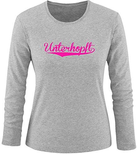 EZYshirt® Unterhopft Damen Longsleeve Grau/Pink