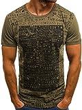 OZONEE Herren T-Shirt mit Motiv Aufdruck Kurzarm Rundhals Figurbetont O/1173 GRÜN M