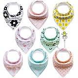 FUTURE FOUNDER 8er Baby Dreieckstuch Lätzchen Spucktuch Halstücher mit Verstellbaren Druckknöpfen Multifunctional, Super Absorbent & Soft Baumwoll, Mädchen